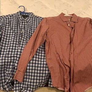 Set of 2 men's large long sleeve button down